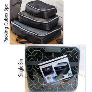Packing Cubes 3pc  +  Single Compartment bin  NEW